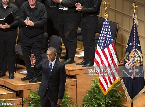 S President Barack Obama attends a memorial service for the victims of the Dallas police shooting at the Morton H Meyerson Symphony Center in Dallas...