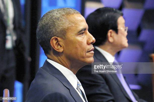 President Barack Obama attends a plenary session of the Asia Pacific Economic Cooperation on November 19, 2015 in Manila, Philippines. Asia-Pacific...