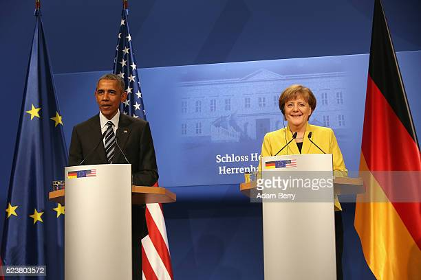 S President Barack Obama attends a press conference with German Chancellor Angela Merkel on April 24 2016 in Hanover Germany Obama is in the city to...