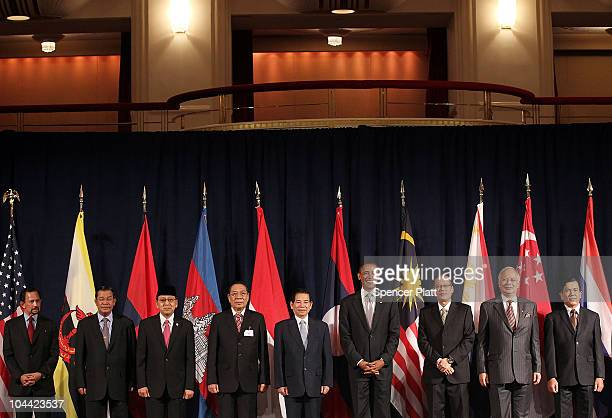 US President Barack Obama attends a working luncheon with ASEAN leaders September 24 2010 in New York City Standing are Sultan of Brunei Hassanal...