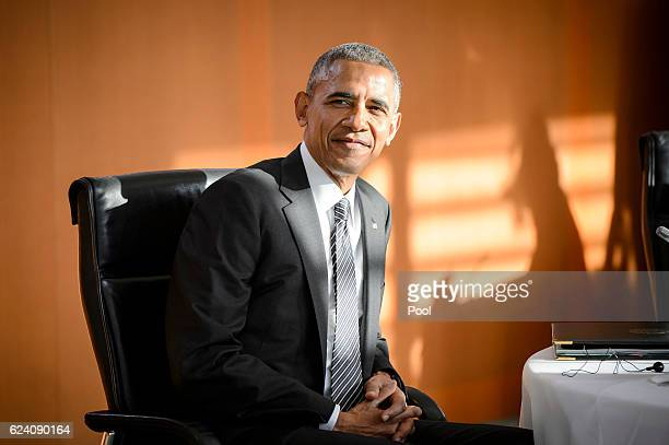 US president Barack Obama attends talks with western European leaders at the Chancellery on November 18 2016 in Berlin GermanyObama and Merkel will...