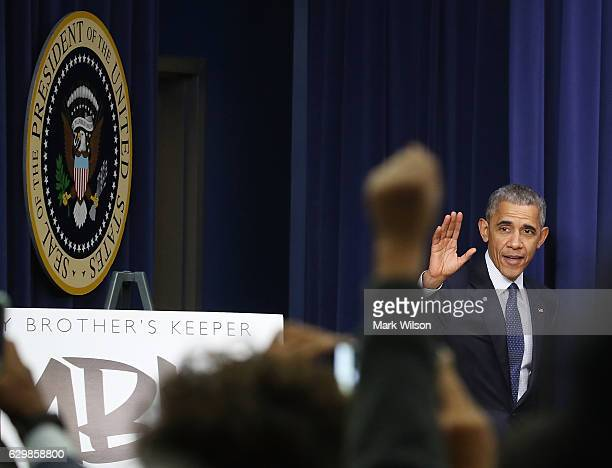 President Barack Obama attends the annual My Brother's Keeper event at the White House December 14 2016 in Washington DC President Obama launched the...