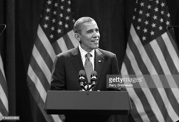 President Barack Obama attends the Obama Victory Fund 2012 benefit at the UIC Forum on January 11 2012 in Chicago Illinois
