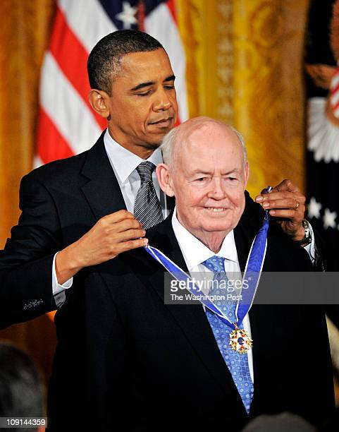President Barack Obama awards the Medal of Freedom to John J Sweeney pictured and other distinguished Americans at a ceremony in the East Room of th...