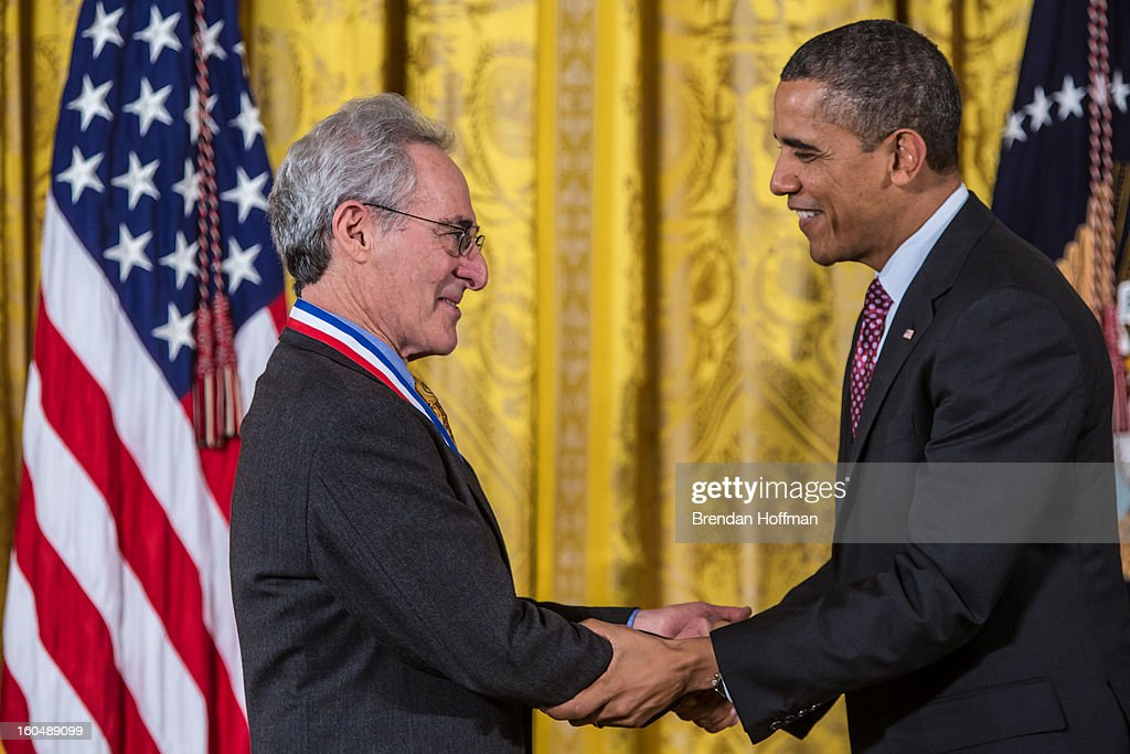 President Barack Obama awards the National Medal of Science to Barry C. Mazur in a ceremony at the White House on February 1, 2013 in Washington, DC. The National Medal of Science recognizes individuals who have made outstanding contributions to science and engineering, while the National Medal of Technology and Innovation recognizes those who have made lasting contributions to America's competitiveness and quality of life and helped strengthen the Nation's technological workforce.