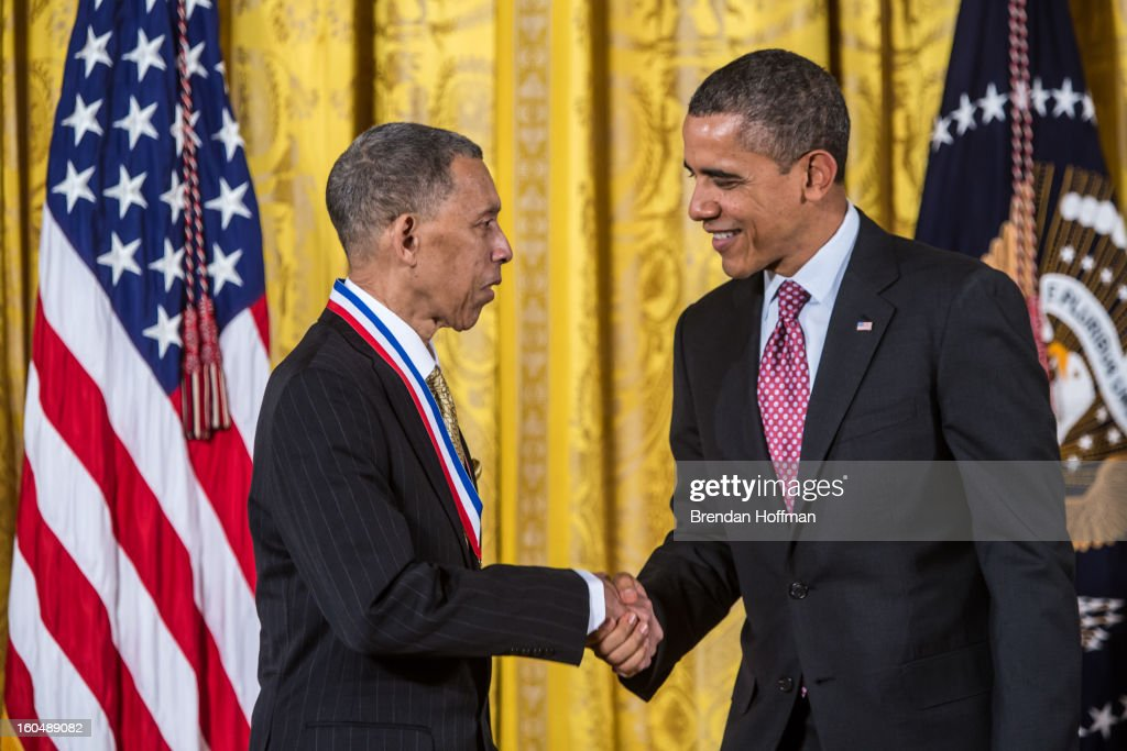 President Barack Obama awards the National Medal of Technology and Innovation to George Carruthers in a ceremony at the White House on February 1, 2013 in Washington, DC. The National Medal of Science recognizes individuals who have made outstanding contributions to science and engineering, while the National Medal of Technology and Innovation recognizes those who have made lasting contributions to America's competitiveness and quality of life and helped strengthen the Nation's technological workforce.