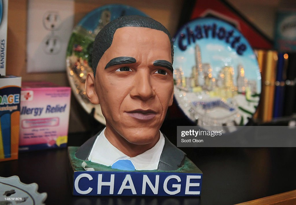 S. President Barack Obama bank is displayed for sale at Sundries in the EpiCenter on July 10, 2012 in Charlotte, North Carolina. The EpiCentre is a hub for dining, entertainment, recreation, and nightlife located in Uptown. Businesses and attractions in Charlotte are anticipating a boost in visitors when the city hosts the 2012 Democratic National Convention (DNC) September 3-6.