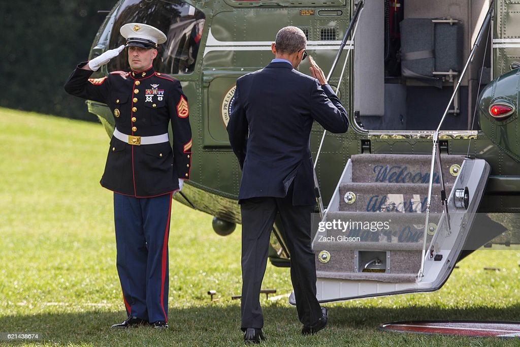 President Barack Obama boards Marine One on November 6, 2016 in Washington, DC. President Obama will travel to Orlando to campaign from Democratic Presidential Candidate Hillary Clinton.