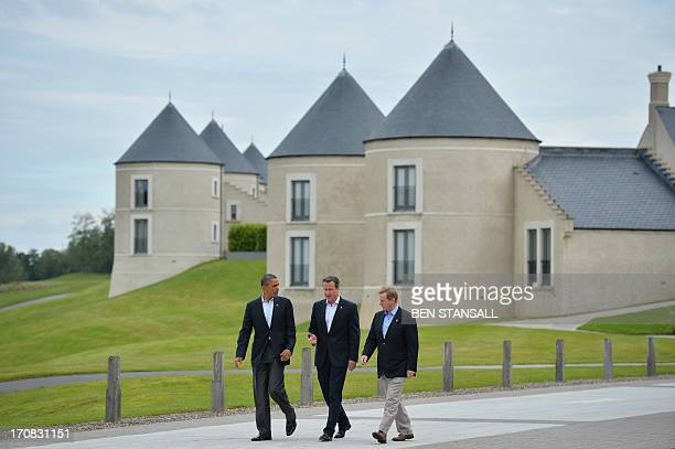 US President Barack Obama Britain's Prime Minister David Cameron and Irish Prime Minister Enda Kenny walk and talk on the second day of the G8 summit...