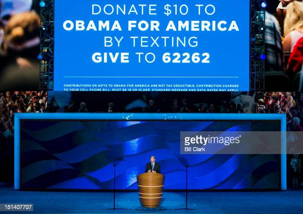 President Barack Obama campaign manager Jim Messina speaks at the Democratic National Convention at Time Warner Cable Arena in Charlotte NC on...