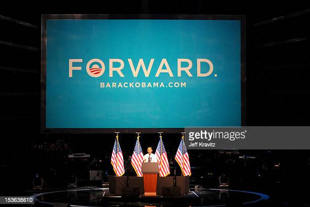 President Barack Obama campaigns at Nokia Theatre L.A. Live on October 7, 2012 in Los Angeles, California.