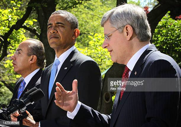 S President Barack Obama Canadian Prime Minister Stephen Harper and Mexican President Felipe Calderon participate in a joint press conference in the...