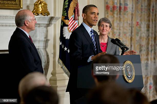 US President Barack Obama center announces Sally Jewell chief executive officer of Recreational Equipment Inc right as his nominee to become...
