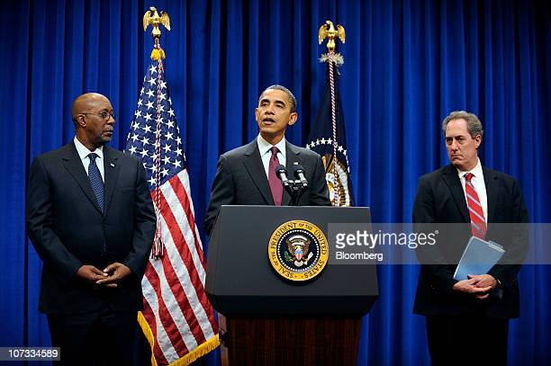 US President Barack Obama center delivers a statement to the media as Ron Kirk US trade representative left and Michael Froman deputy national...