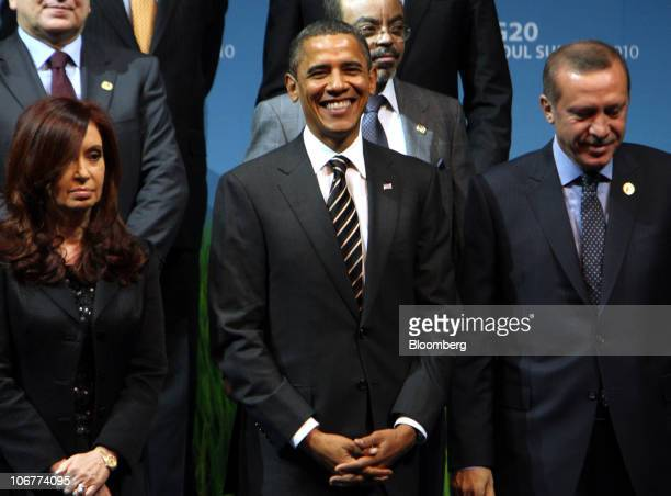 US President Barack Obama center takes part in a group photo session with other leaders from the Group of 20 nations at the G20 Seoul Summit 2010 in...