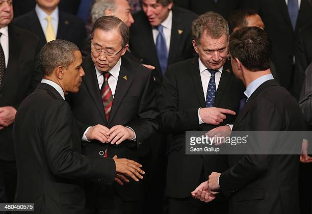 S President Barack Obama chats with UN Secretary General Ban Kimoon as Dutch Prime Minister Mark Rutte chats with Finnish President Sauli Niinisto...