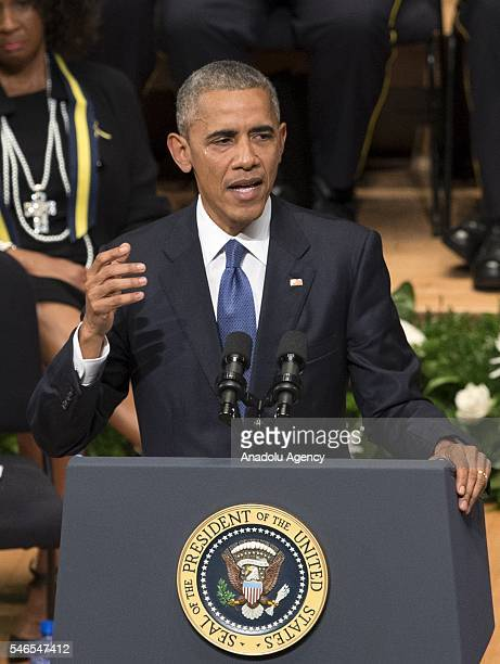 S President Barack Obama cries as he delivers a speech during a memorial service for the victims of the Dallas police shooting at the Morton H...