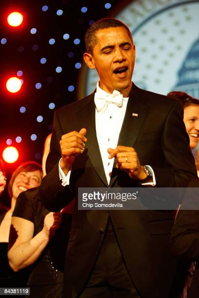 President Barack Obama dances during the Neighborhood Inaugural Ball at the Washington Convention Center on January 20 2009 in Washington DC Obama...