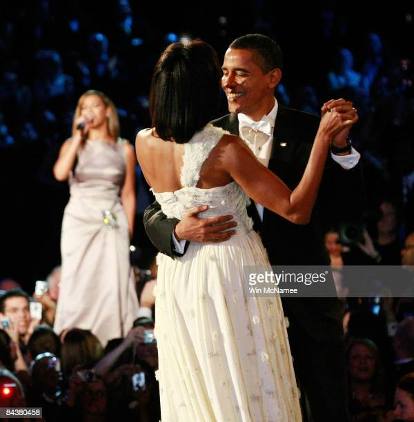 President Barack Obama dances with his wife and First Lady Michelle Obama as Beyonce sings 'At Last' during the first Inaugural Ball on January 20...
