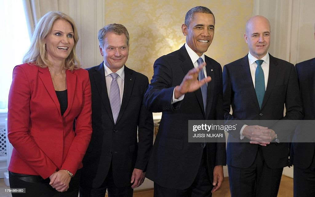 US President Barack Obama (2nd R), Danish Prime Minister Helle Thorning-Schmidt (L-R), Finnish President Sauli Niinisto and Swedish Prime Minister Fredrik Reinfeldt attend the Nordic Dinner in Stockholm, Sweden on September 4, 2013. Obama met with Fredrik Reinfeldt upon arrival in Sweden on a two-day official trip before leaving for Russia, where he will attend G20 summit. Russia on Thursday hosts the G20 summit hoping to push forward an agenda to stimulate growth but with world leaders distracted by divisions on the prospect of US-led military action in Syria.