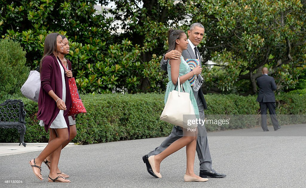 President Barack Obama and daughter Sasha depart the White House- DC : News Photo