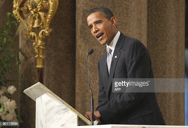 US President Barack Obama delivers a eulogy for US Senator Edward Kennedy during Kennedy's funeral services at the Basilica of Our Lady of Perpetual...