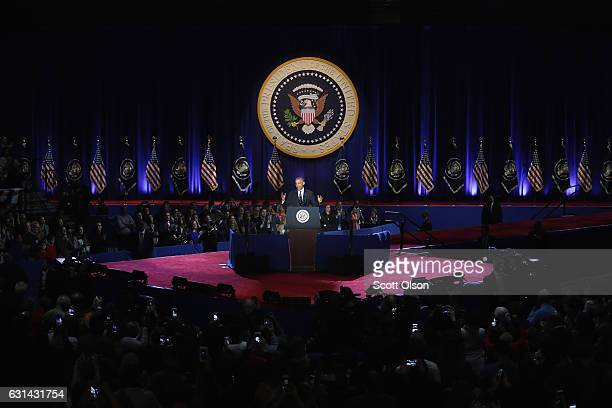 President Barack Obama delivers a farewell speech to the nation on January 10 2017 in Chicago Illinois Presidentelect Donald Trump will be sworn in...