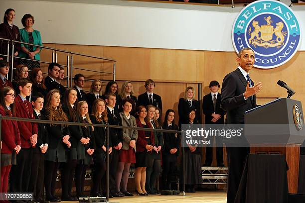 S President Barack Obama delivers a keynote address at the Waterfront Hall ahead of the G8 Summit on June 17 2013 in Belfast Northern Ireland Later...