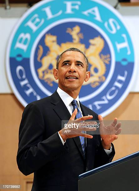 US President Barack Obama delivers a keynote address at Waterfront Hall in Belfast Northern Ireland on June 17 ahead of the G8 summit Obama told the...