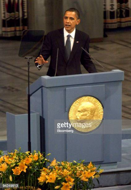 President Barack Obama, delivers a speech after receiving the Nobel Peace Prize, during a ceremony in Oslo, Norway, on Thursday, Dec. 10, 2009. Obama...