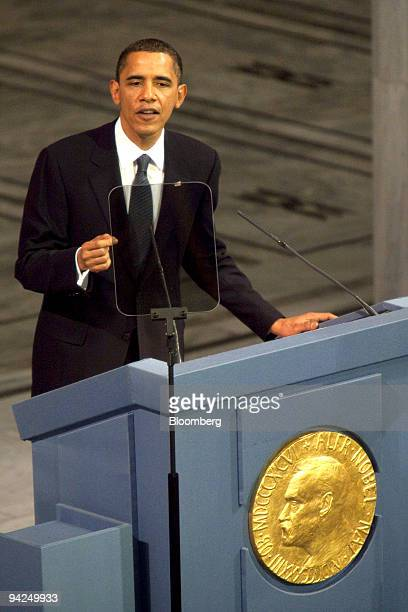 US President Barack Obama delivers a speech after receiving the Nobel Peace Prize during a ceremony in Oslo Norway on Thursday Dec10 2009 Obama...