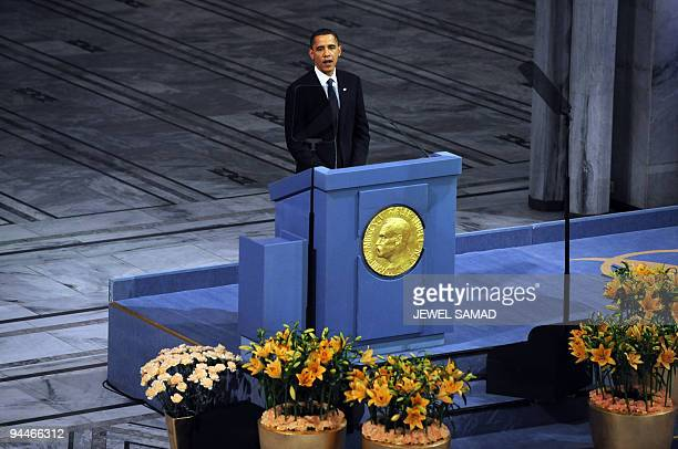 US President Barack Obama delivers a speech after receiving the Nobel Peace Prize during a ceremony at the Oslo City Hall in Oslo on December 10 2009...