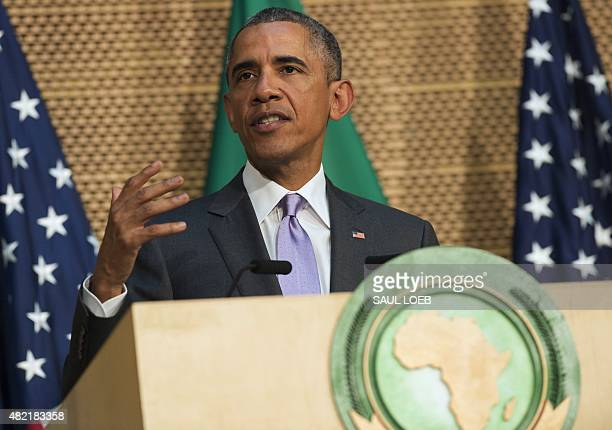 US President Barack Obama delivers a speech at the African Union Headquarters in Addis Ababa on July 28 2015 US President Barack Obama said today...
