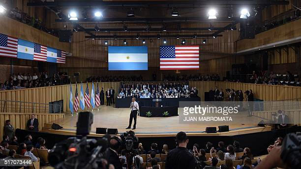 """President Barack Obama delivers a speech at the """"Usina del Arte"""" cultural center in Buenos Aires on March 23, 2016. The United States and Argentina..."""