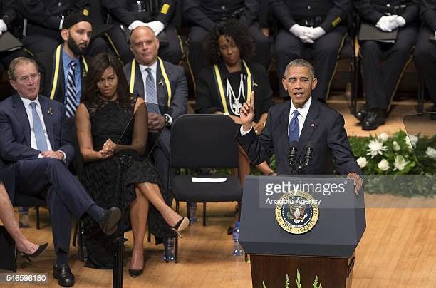 S President Barack Obama delivers a speech during a memorial service for the victims of the Dallas police shooting at the Morton H Meyerson Symphony...