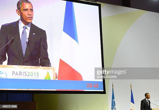 President Barack Obama delivers a speech during the opening day of the World Climate Change Conference 2015 , on November 30, 2015 at Le Bourget, on...