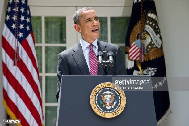 US President Barack Obama delivers a statement in the Rose of the White House in WashingtonDC on June 15 2012 after the US announced it will stop...