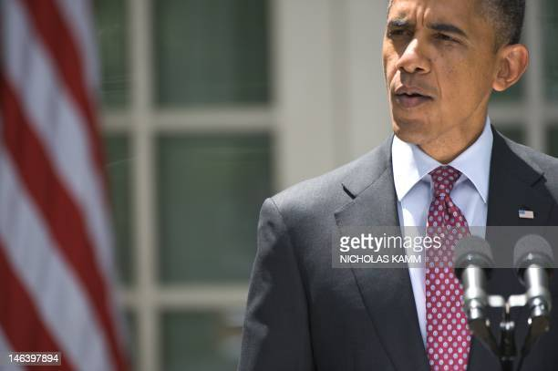 US President Barack Obama delivers a statement in the Rose Garden of the White House in Washington on June 15 2012 after the US announced it will...