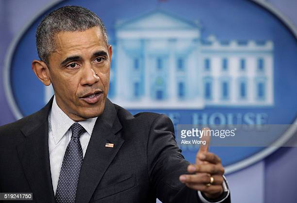 S President Barack Obama delivers a statement on economy at the James Brady Press Briefing of the White House April 5 2016 in Washington DC President...