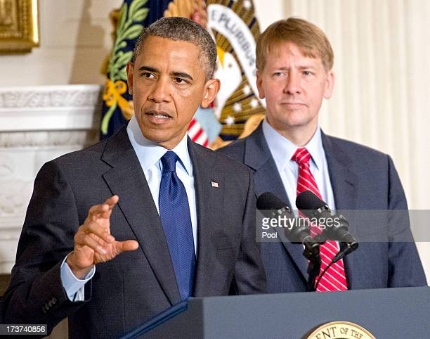US President Barack Obama delivers a statement on the confirmation of Richard Cordray as Director of the Consumer Financial Protection Bureau in the...