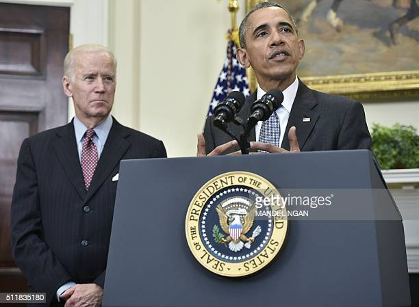 US President Barack Obama delivers a statement on the Guantanamo Bay detention camp on February 23 2016 as Vice President Joe Biden looks on in the...