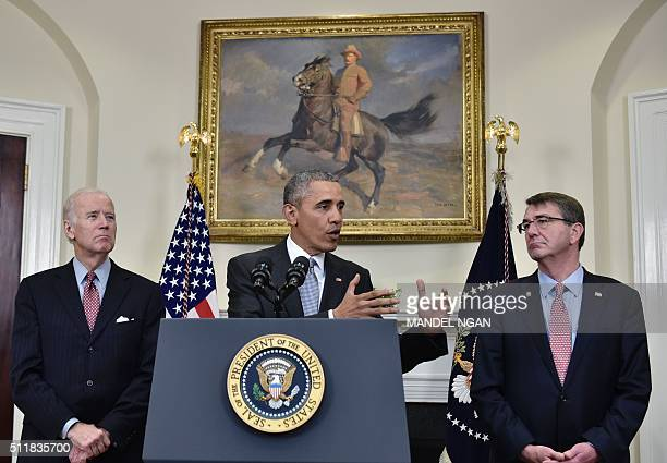 US President Barack Obama delivers a statement on the Guantanamo Bay detention camp flanked by US Vice President Joe Biden and Defense Secretary...