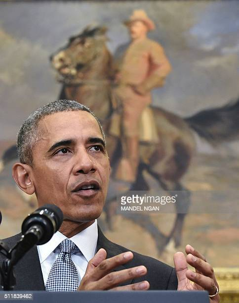 US President Barack Obama delivers a statement on the Guantanamo Bay detention camp on February 23 2016 in the Roosevelt Room of the White House in...