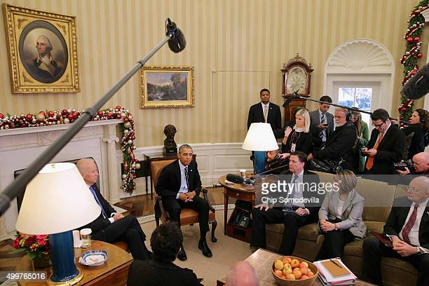 S President Barack Obama delivers a statement to the news media after receiving a briefing from his national security team including Vice President...