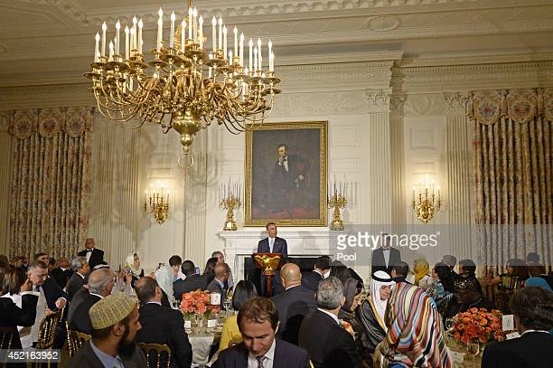 President Barack Obama delivers an opening speech as the host of an Iftar dinner celebrating Ramadan in the State Dining Room of the White House on...