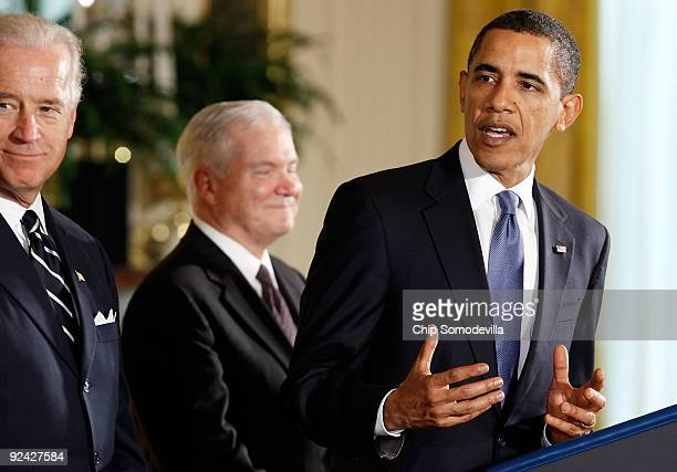 S President Barack Obama delivers brief remarks with Vice President Joe Biden and Defense Secretary Robert Gates before signing the FY2010 National...
