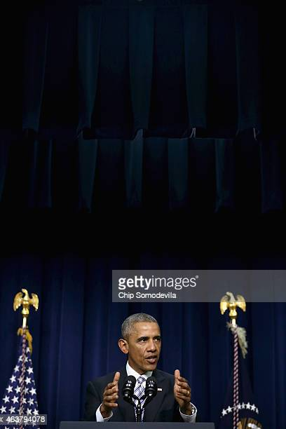 S President Barack Obama delivers closing remarks at the conclusion of the White House Summit on Countering Violent Extremism in the Eisenhower...