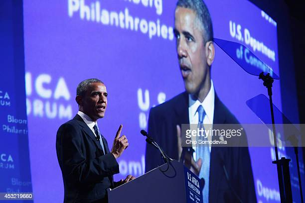President Barack Obama delivers closing remarks during the U.S.-Africa Business Forum at the Mandarin Oriental Hotel August 5, 2014 in Washington,...