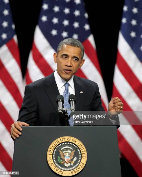 S President Barack Obama delivers his address on immigration reform at Del Sol High School on January 29 2013 in Las Vegas Nevada Obama commended...