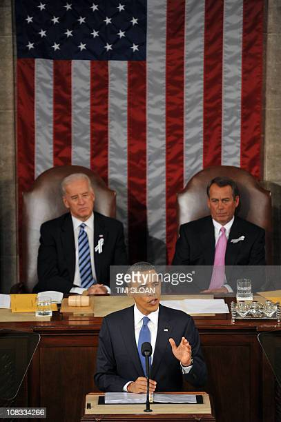 US President Barack Obama delivers his annual State of the Union Address before a joint session of Congress and the Supreme Court on January 25 2011...